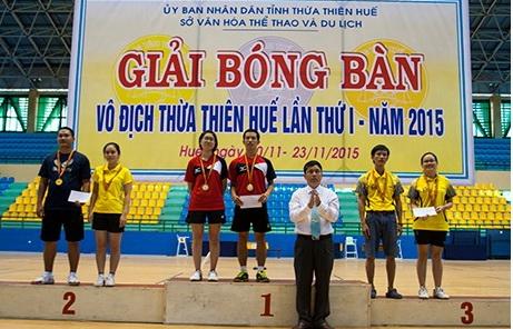 Trường ĐHYD Huế đạt nhiều giải cao tại giải vô địch bóng bàn Tỉnh TT-Huế lần thứ 1 năm 2015